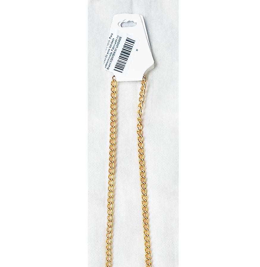 Corrente de óculos Salva Óculos Corrente de metal Dourada 80cm Elo020 Média
