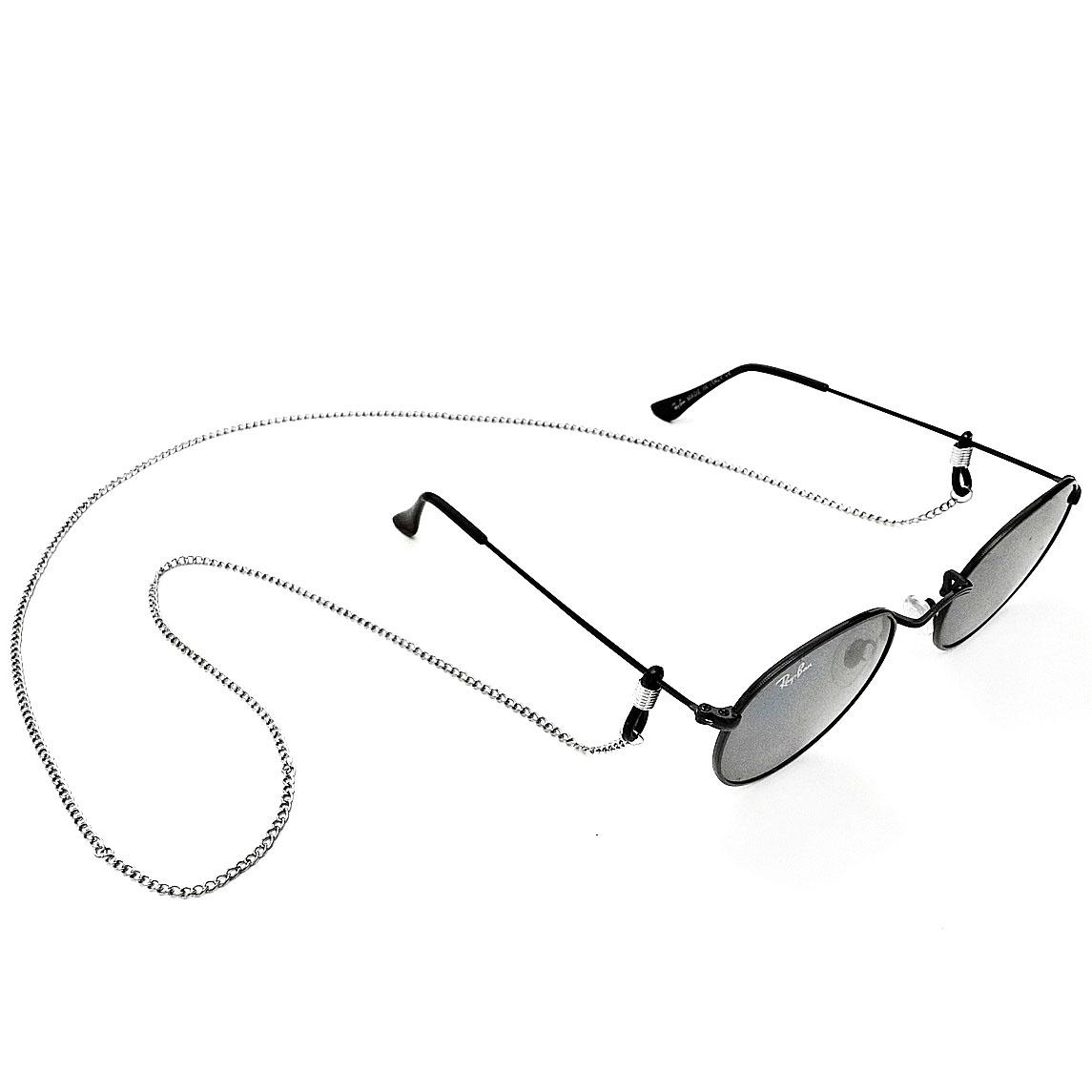 Corrente de óculos Salva Óculos Corrente de metal Prateada 80cm Elo020 Fina