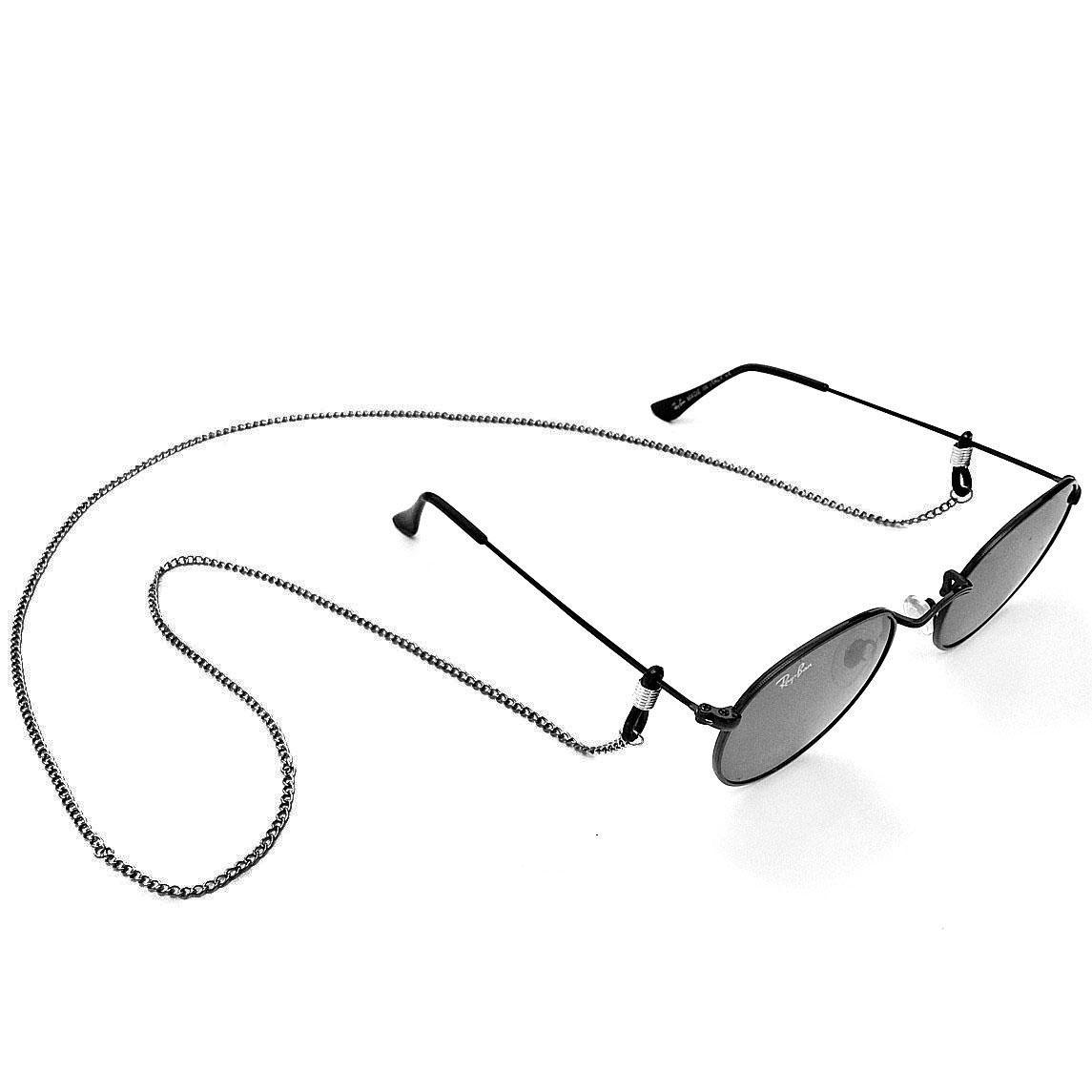 Corrente de óculos Salva Óculos Corrente de metal Preto 80cm Elo020 Fina