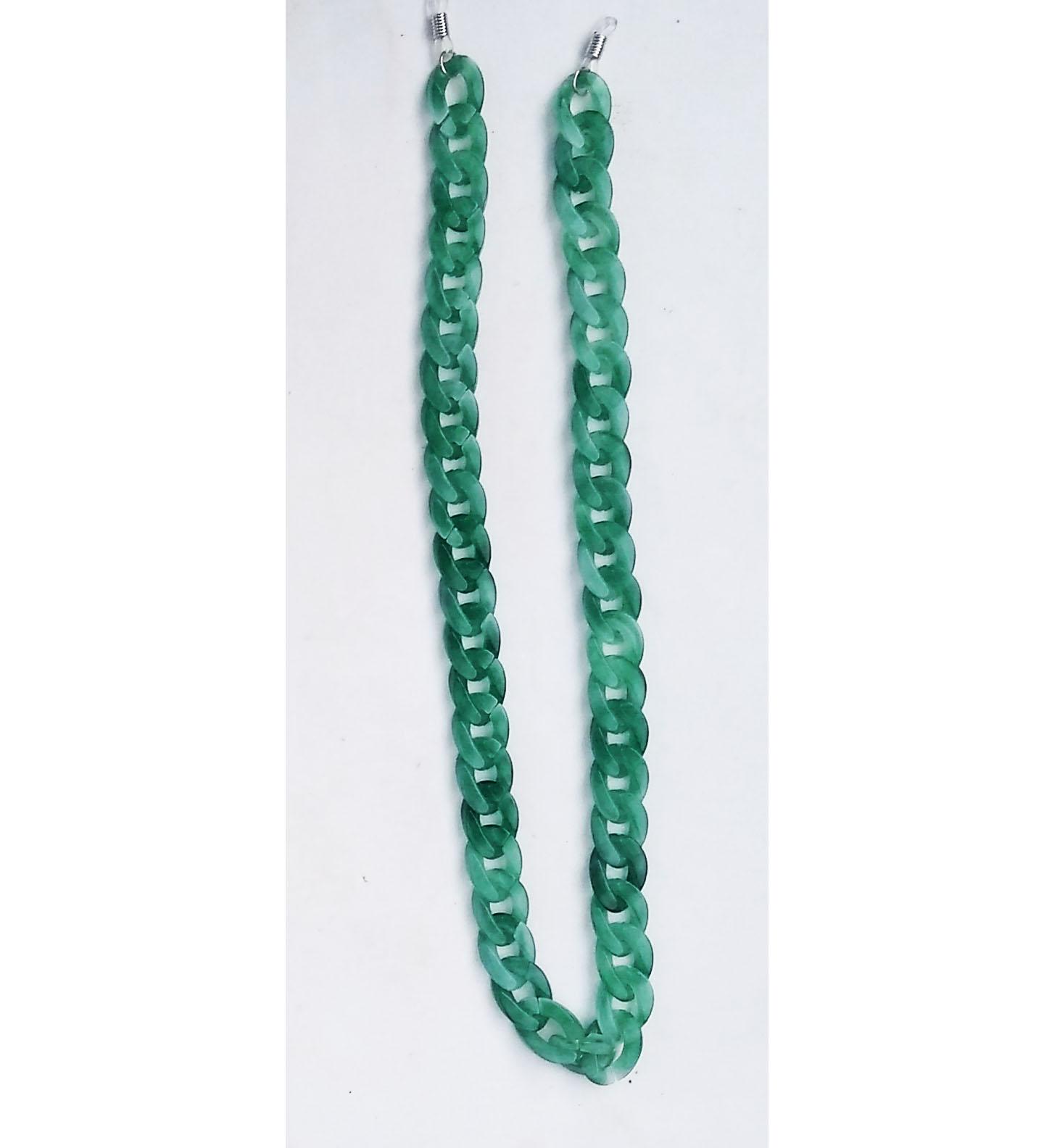 Corrente de óculos Salva Óculos Corrente em resina Green Jade Fashion
