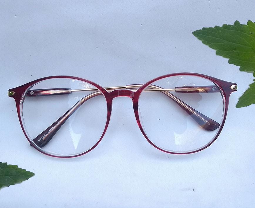 Óculos Armação para grau Redondo Unissex Round Darc Red 550 Tendencia De Moda