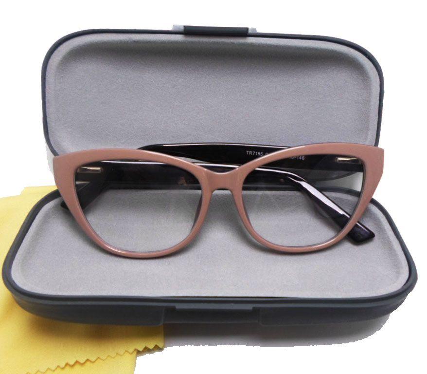 Oculos De Grau Armação Em Nude 7185 Vintage Retro Gatinho