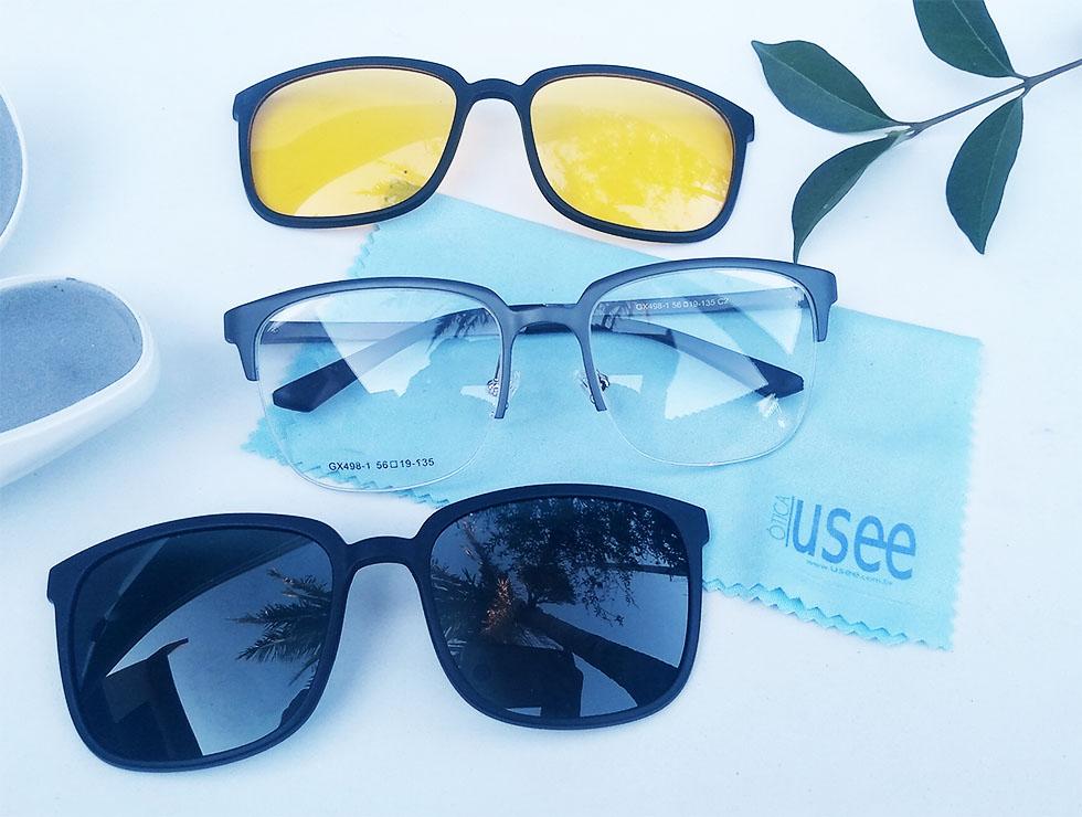 Óculos de Grau e solar Night Drive Clip On Alumínio Masculino Mascara Resistente Grey Sport