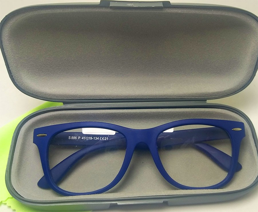 Oculos De Grau Infantil Inquebrável Silicone Wayfarer Azul Leve Flexível S886AZ