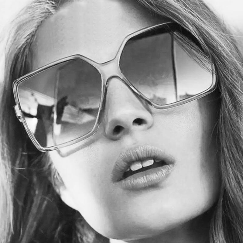 Óculos De Sol 0411 Quadrado Feminino Grande Oversize Black