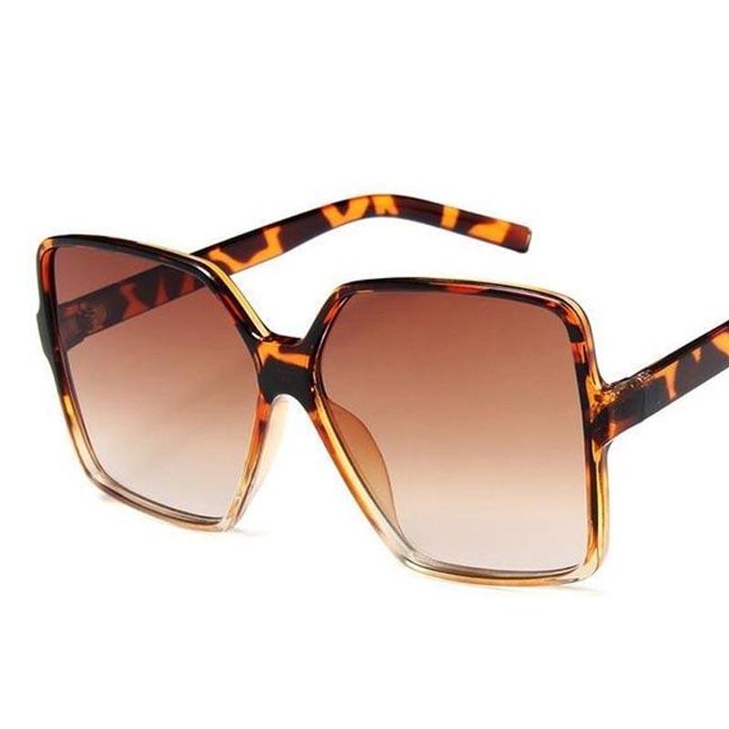 Óculos De Sol 0411 Quadrado Feminino Grande Oversize Oncinha Brown