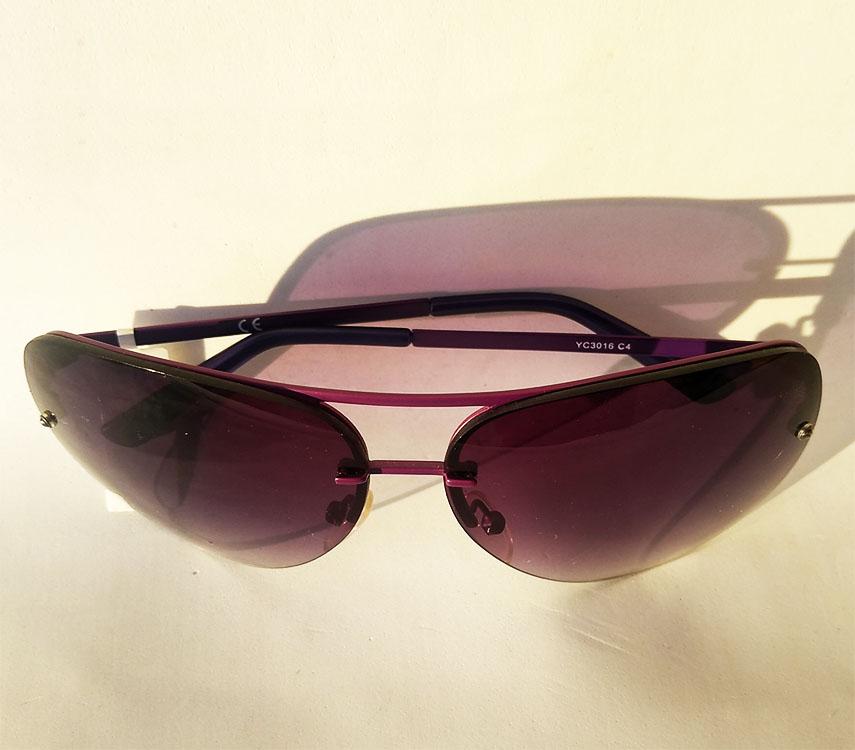 Óculos De Sol Aviador sem aro Mascara Oversize Roxo Fanny YC3016