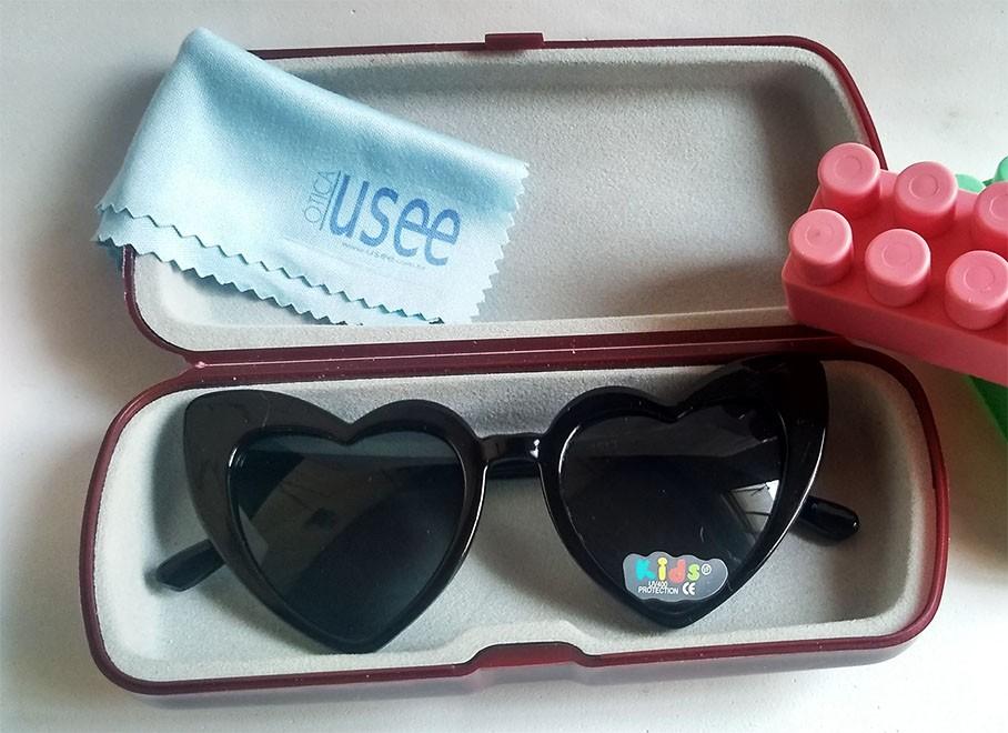 Oculos De Sol de Coração Black Infantil meninas Kids Princesa inquebrável