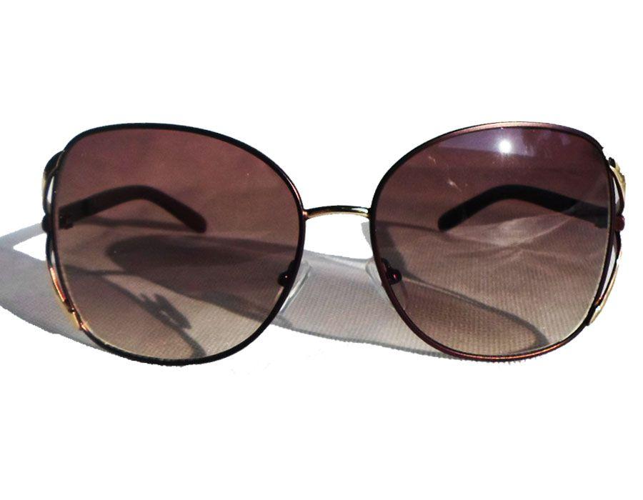 Oculos De Sol Estilo Chloe Retro Metal Grande Redondo Magestic
