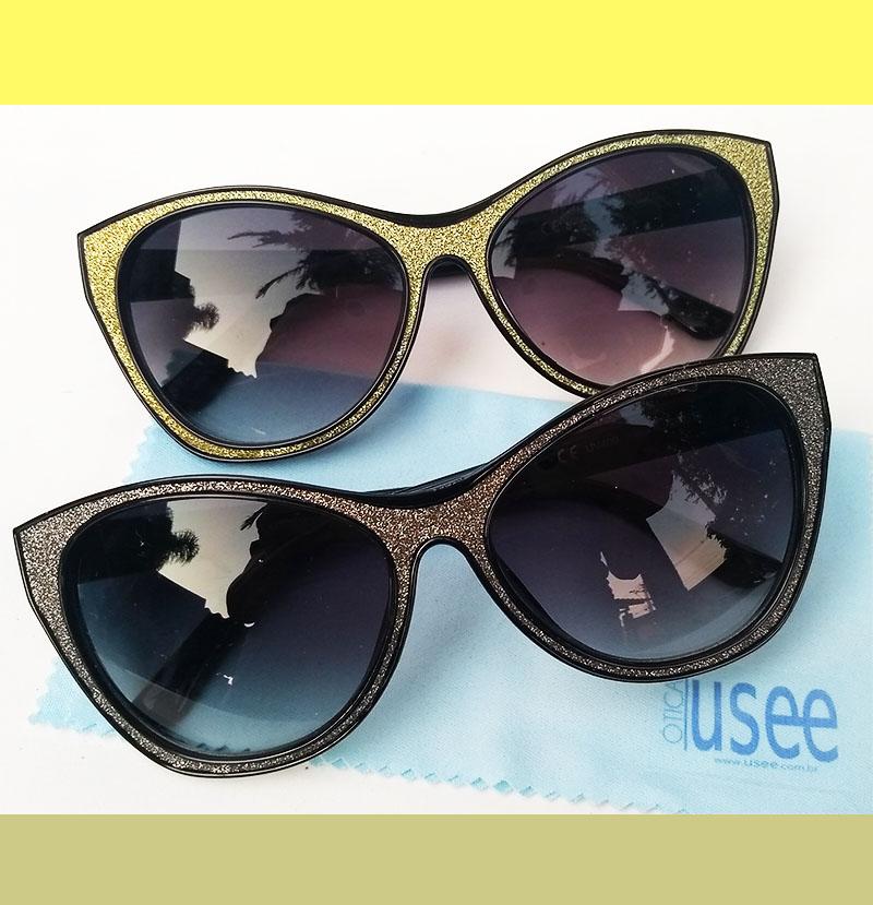 Óculos De Sol Feminino Gatinho Brilhos Glitter Dourado Stefany