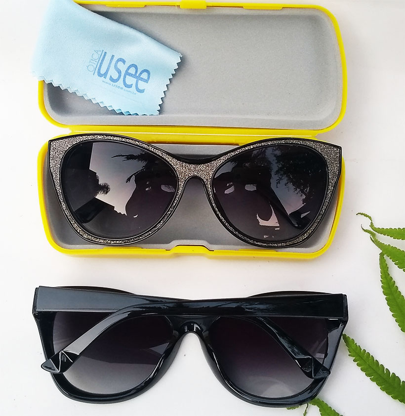 Óculos De Sol Feminino Gatinho Brilhos Glitter Prateado Kelly