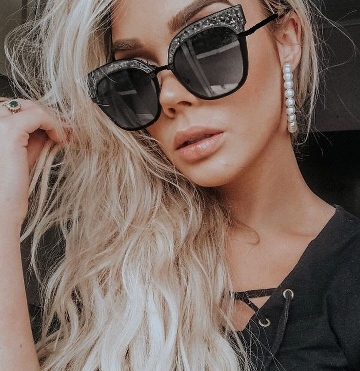 Óculos De Sol feminino Mille Gatinho Metal Brilhos transparência Purpurina
