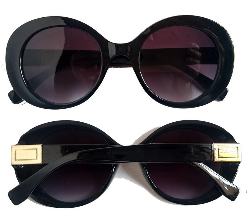 Oculos De Sol Feminino Oval Redondo Retro Black Over Thick