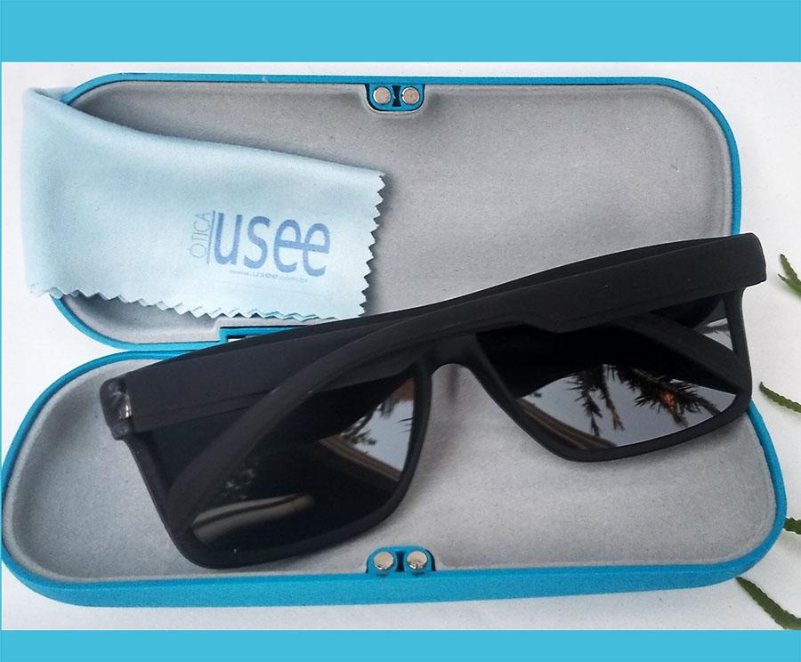Oculos de Sol Quadrado Masculino Wind B1004 Black fosco