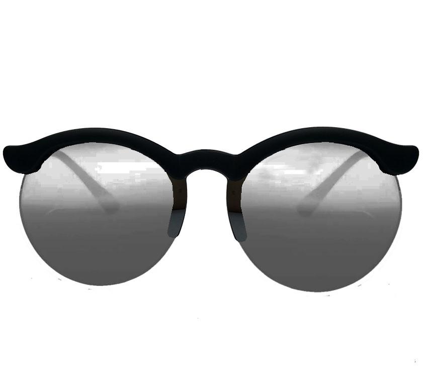 Oculos De Sol Redondo Feminino Espelhado Yasmin Meio aro