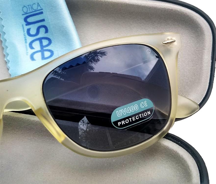 Oculos De Sol Transparente Wayf Branco Matte lente Azul Uv400 B88-1140