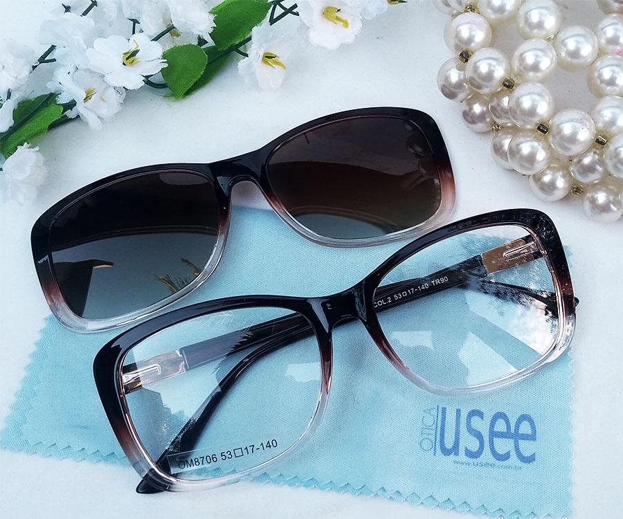 Óculos Quadrado Clip on de Grau e solar Transparente Degrade OM8706