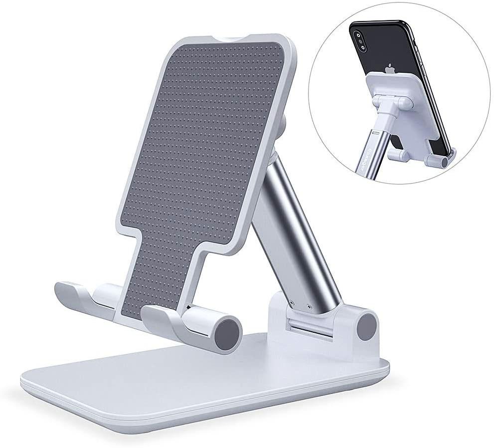 Suporte para Celular e Tablet Ajustável articulado de mesa Desktop Ergonômico White