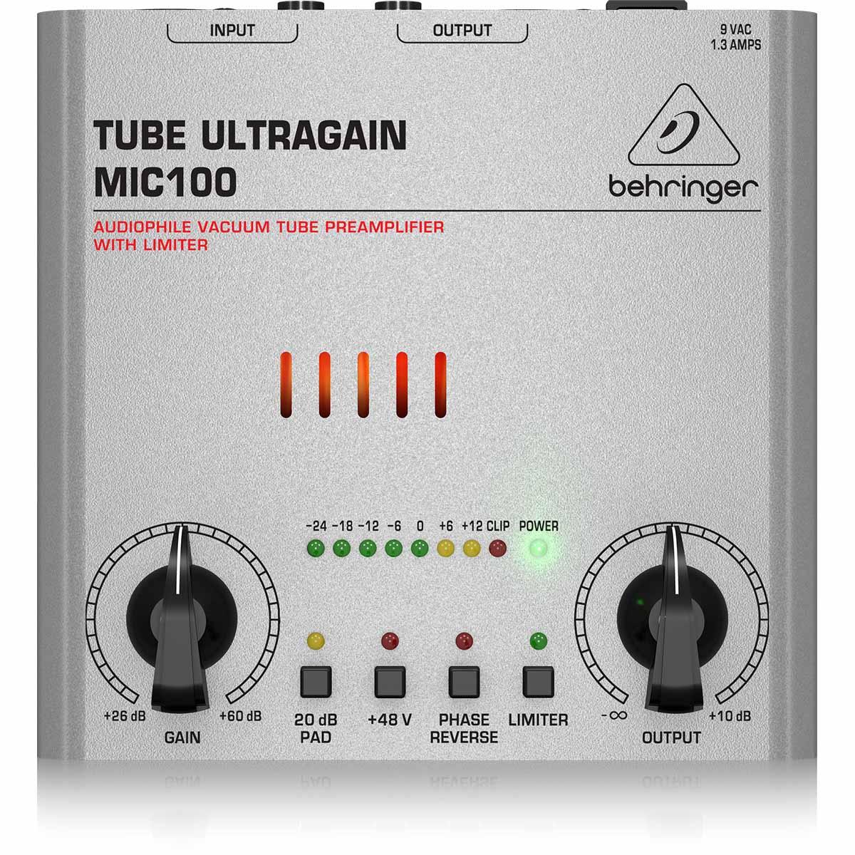 Behringer MIC100 Tube UltraGain Pré Amplificador De Tubo Com Limitador, 220v