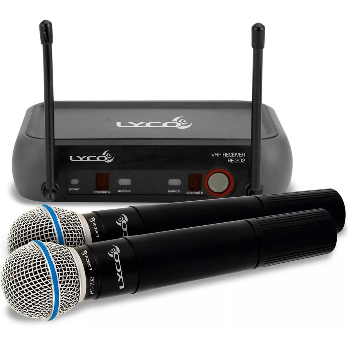 Lyco VH-202 MM Microfone Sem Fio Duplo de Mão, Bivolt