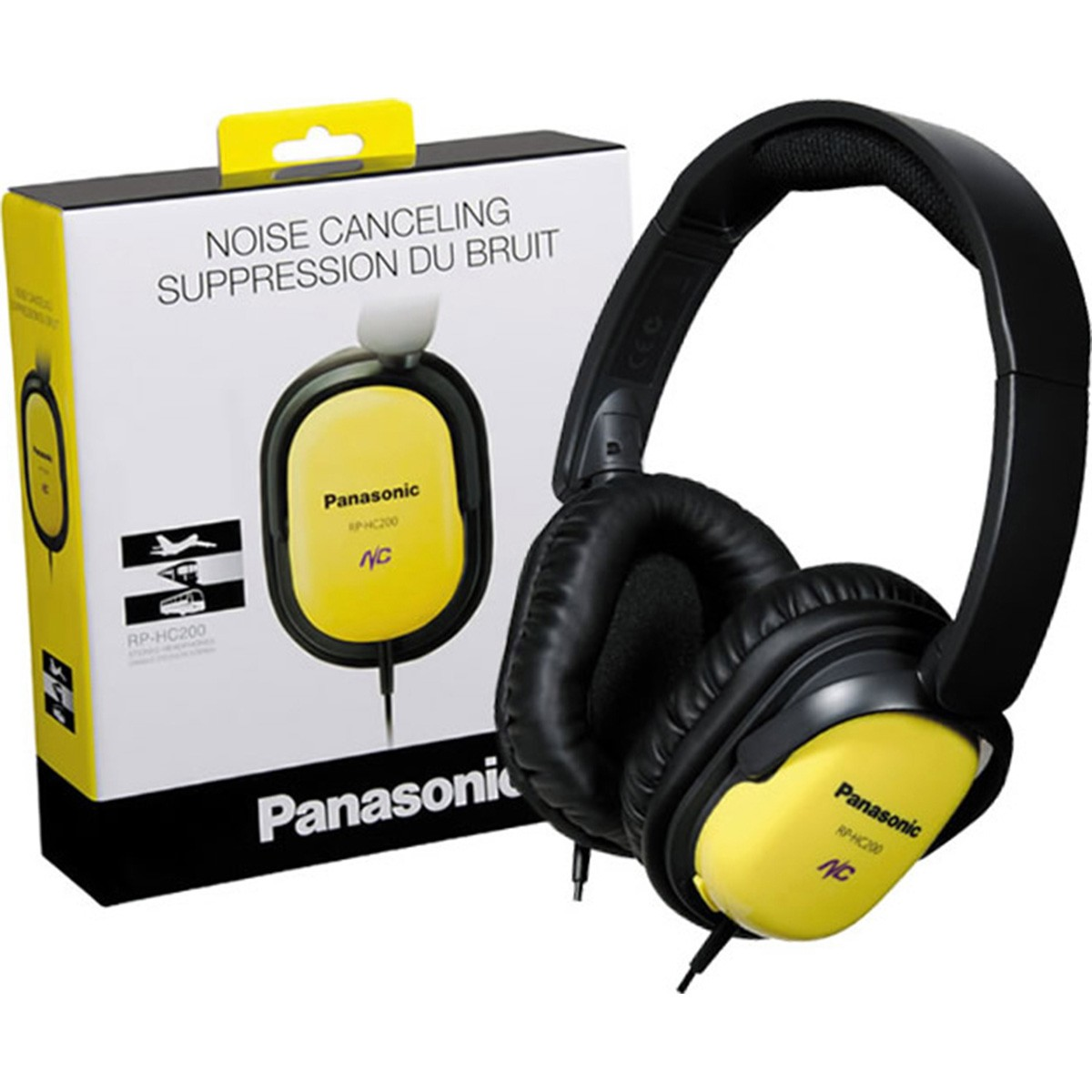 Panasonic RP-HC200 Fone de Ouvido Cancela Ruídos, Amarelo