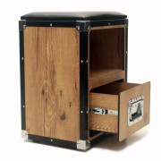 Hard Case Banco Estofado com Gaveta Black/vintage