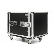 Hard Case Rack 10U Potência e Amplificadores com Rodas