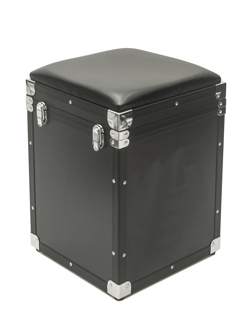 Hard Case Banco PUFF Baú com tampa Black Chrome
