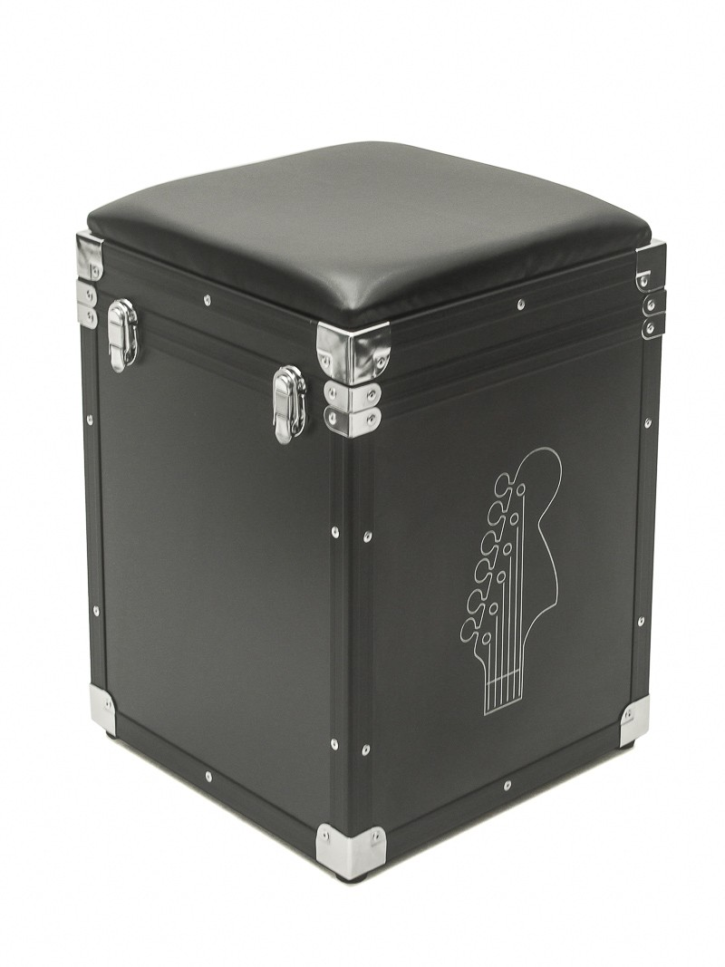 Hard Case Banco PUFF Baú Music com tampa Black Chrome