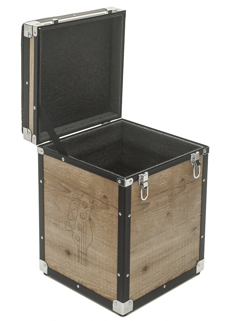Hard Case Banco PUFF Baú Music com tampa Vintage Black