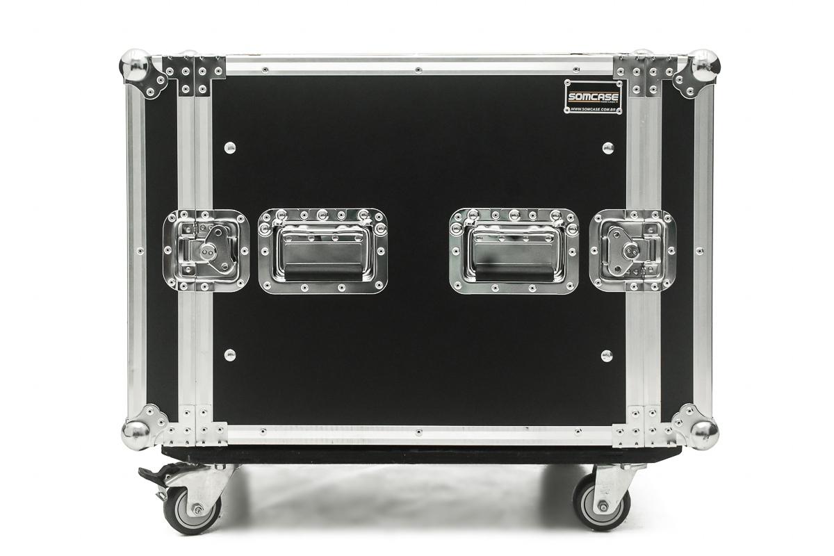 Hard Case Rack 8U Potência e Amplificadores com Rodas