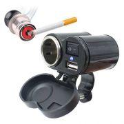Adaptador Tomada Usb(2.1A) Carregador Acendedor cigarro P/ Motocicleta 12V a 24V YF-122