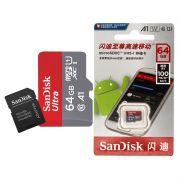 Cartão de Memória Micro SD Sandisk 64GB 100Mb/s Original Escrita Chinesa