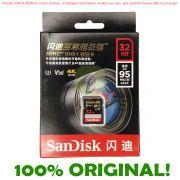 Cartão de Memória SD 32gb 95MB/s Sandisk Extreme Pro SDHC Original (Modelo Asiático c/ Escrita Chinesa)