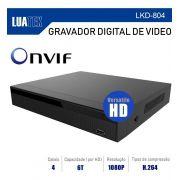 DVR LUATEK 4 CANAIS 1080P HIBRIDO VERSATILE AHD CVI ANALÓGICO IP E TVI LKD-804