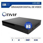 DVR LUATEK 8 CANAIS 1080P HIBRIDO VERSATILE AHD CVI ANALÓGICO IP E TVI LKD-808
