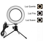 Iluminador Ring Light Foto Video 15cm 6 polegadas 48 Leds Com Dimmer 3200K a 5600K Com Tripé de Mesa