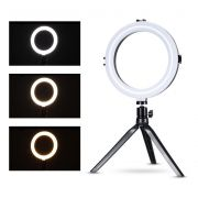 Iluminador Ring Light Foto Video 20cm 8 polegadas 78 Leds Com Dimmer 3200K a 5600K Com Tripé de Mesa