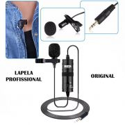 Microfone de Lapela Boya BY-M1 Original Para Câmera, Celular ou PC