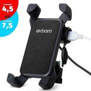 Suporte garra para moto Celular com carregador USB 2A p/ 4.5 à 7.5 polegadas fixação guidão SP-CA54