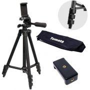Tripé Para Câmera Fotográfica Pequena ou Celular em Alumínio Até 1,14m 114cm Tomate MTG-3011