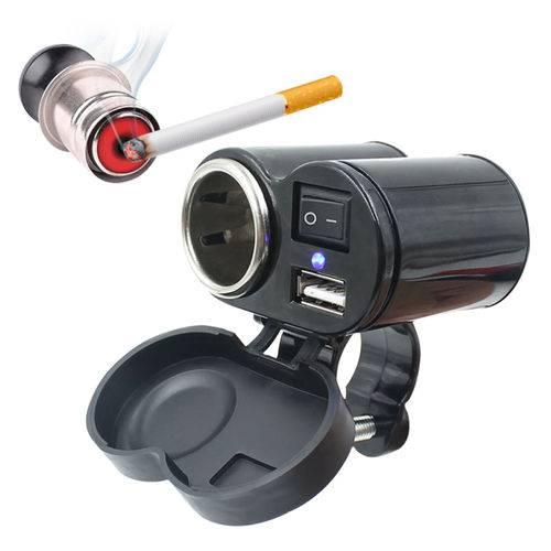 Adaptador Tomada USB Carregador Acendedor Cigarro P/ Moto Exbom CAMT-AU20