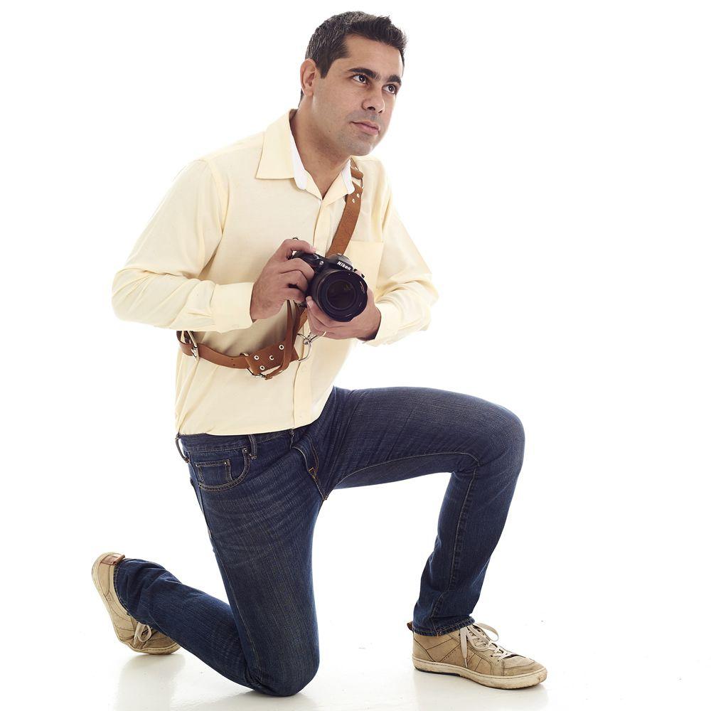 Alça Cinta Unilateral P/ Câmera em Couro Genuíno Pendurar no Ombro