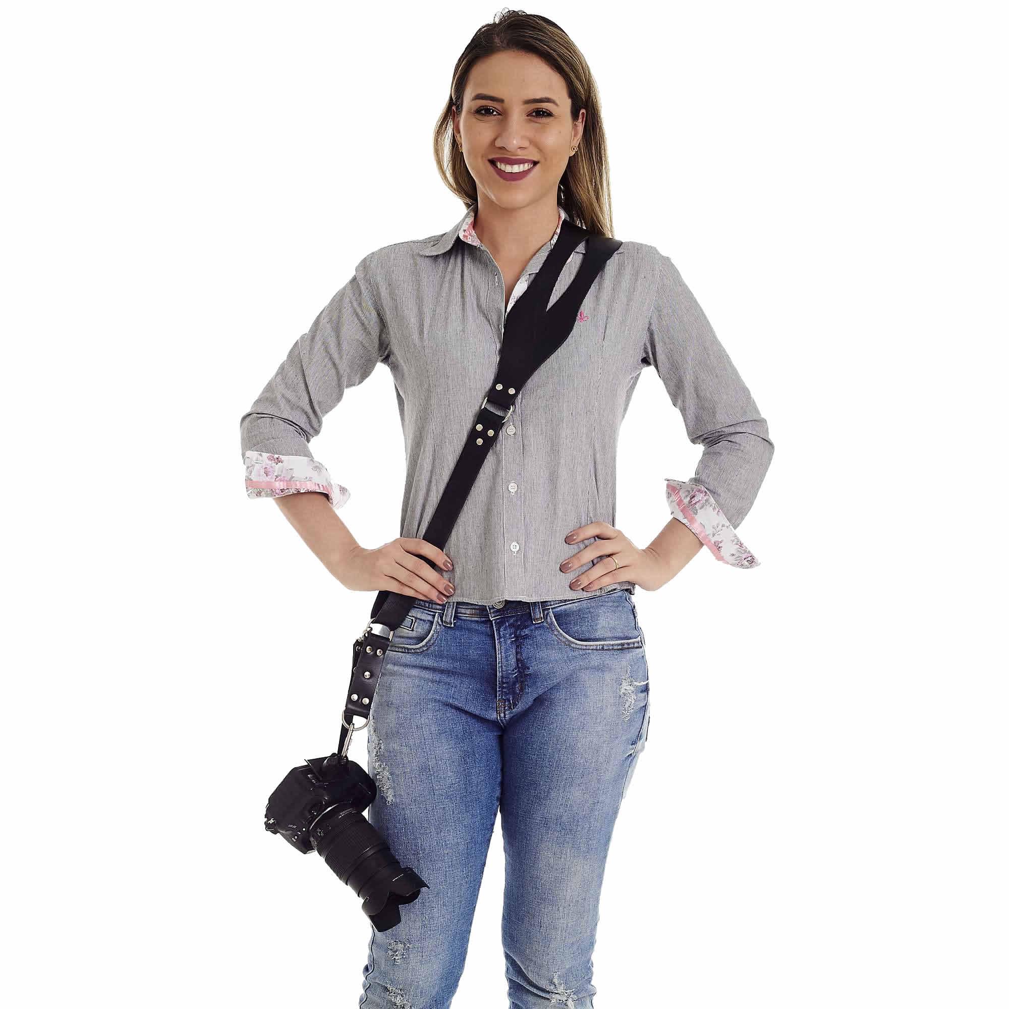 Alça Cinta Unilateral P/ Câmera Fotográfica em Couro Genuíno Larga no Ombro