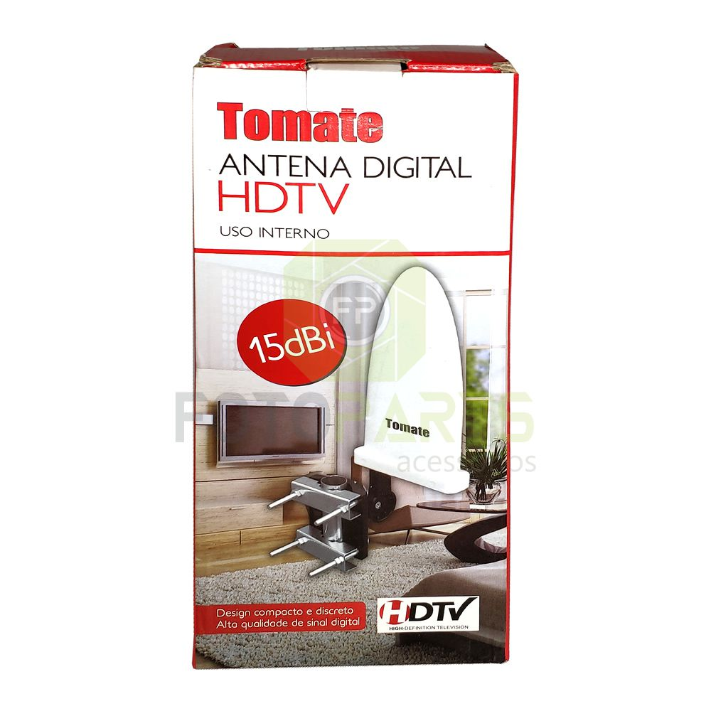 Antena Interna e Externa HDTV Tv Digital 15dbi Alto Ganho Tomate MTA-707