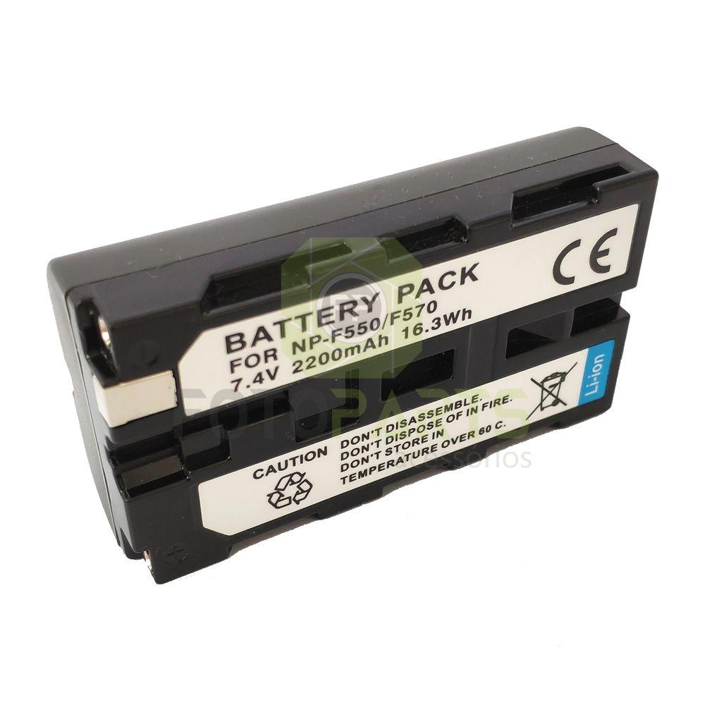 Bateria compatível c/ Sony NP-F550 NP-F570 genérica p/ Câmeras vídeo Painel de Led Ring Light, Etc