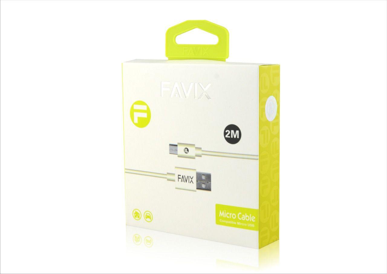 CABO DE DADOS MICRO USB V8 PARA CELULAR FAVIX 2 METROS