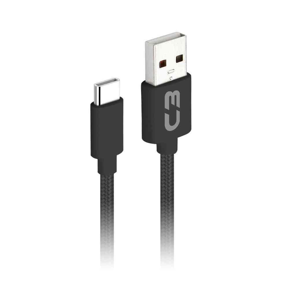 Cabo USB x USB Tipo C Type-C 2M 2A CB-C21BK Preto C3Plus
