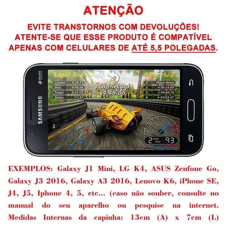 Capa de Smartphone até 5,5 Polegadas Suporte Para Retrovisor de Moto Case Impermeável C/ zíper SP-CA23S