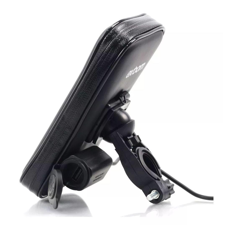 Capa de Smartphone até 6,3 Polegadas Para Moto Case Impermeável C/ zíper e Com Saída USB Suporte em Guidão SP-CA24L